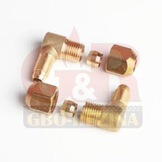 Переходной фитинг (угловой) D8/D6 М10х1/G1x4 (GZ-10-24A) - Соединители для медной магистрали